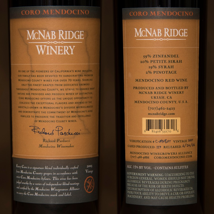2003 McNab Ridge Winery 750ml