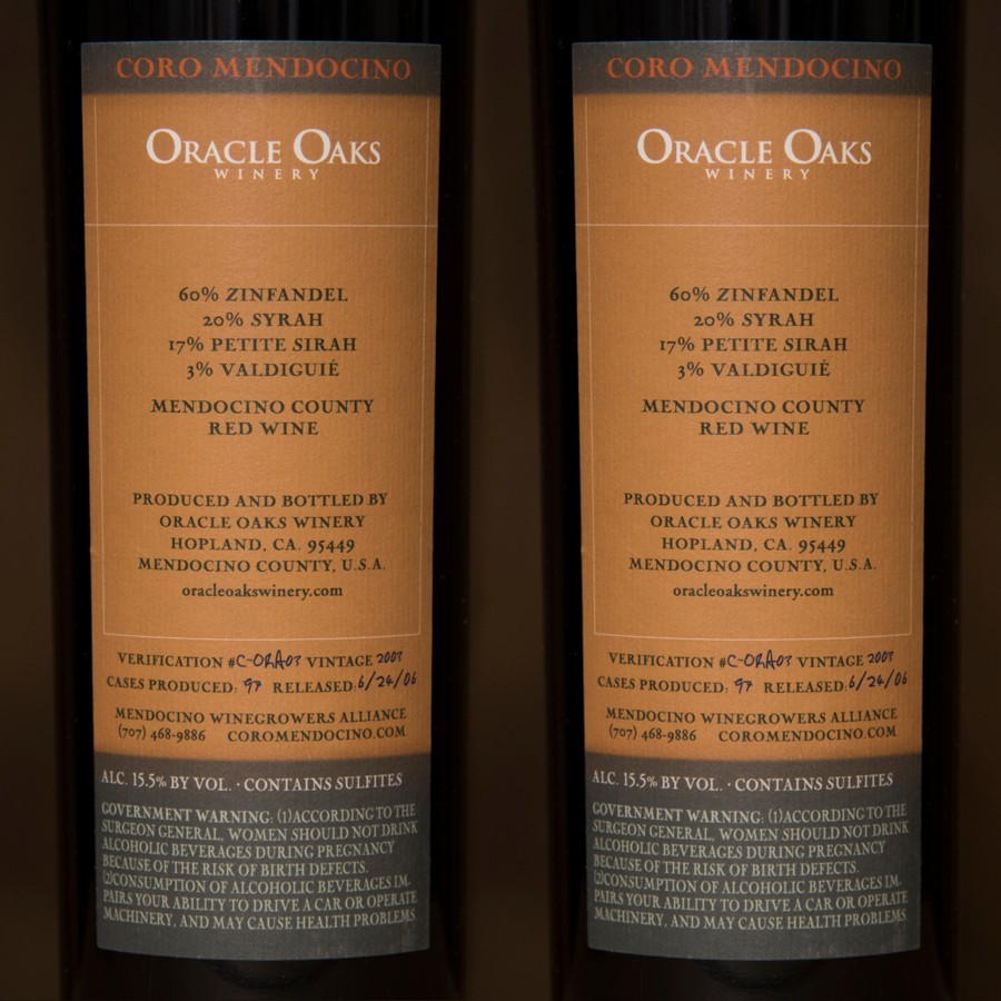 2003 Oracle Oaks Winery Magnum