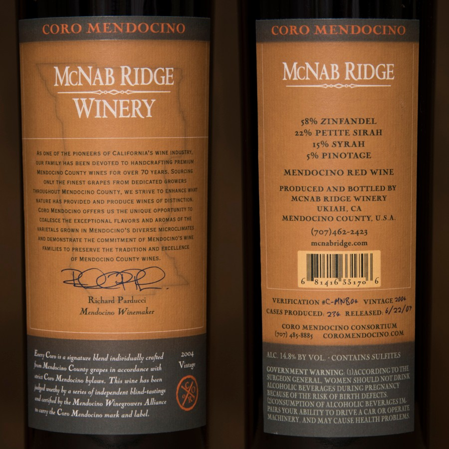 2004 McNab Ridge Winery 750ml Image